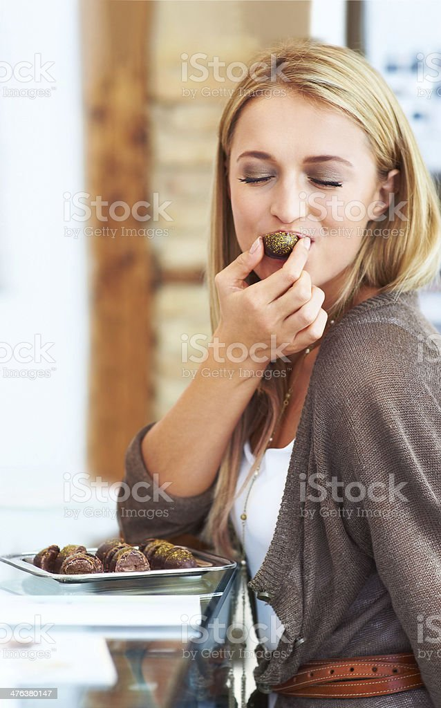 Mmmmmm, this tastes amazing! stock photo