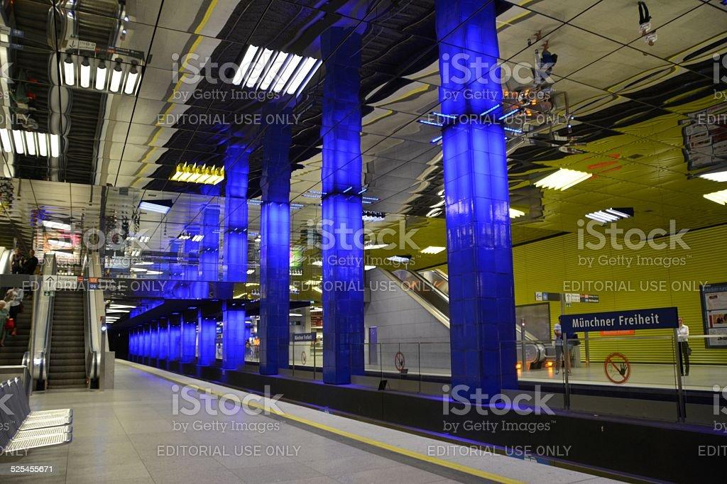Münchner Freiheit Subway station platform, Munich stock photo