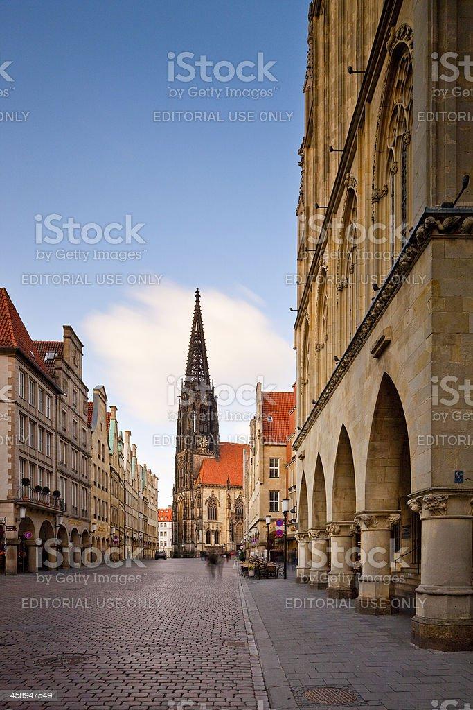 Münster, Germany, Prinzipalmarkt and St Lambert's Church royalty-free stock photo