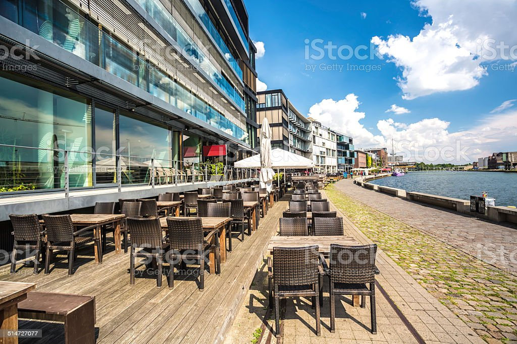 M?nster harbor with restaurant (Nordrhein Westfalen) stock photo