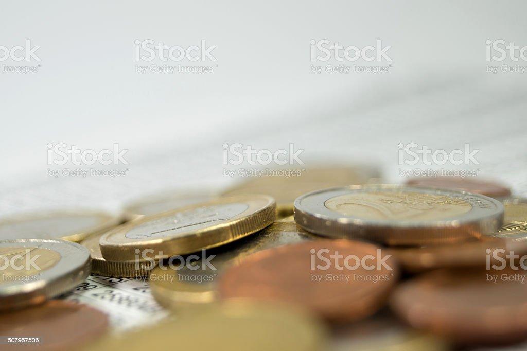Münzen und Statistik stock photo