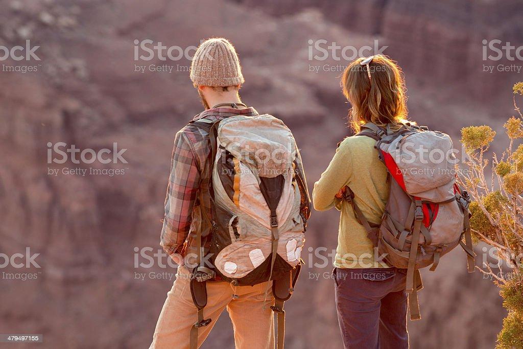 Moab Hiking Couple stock photo