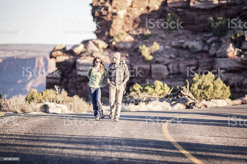 Moab Hiking Couple royalty-free stock photo
