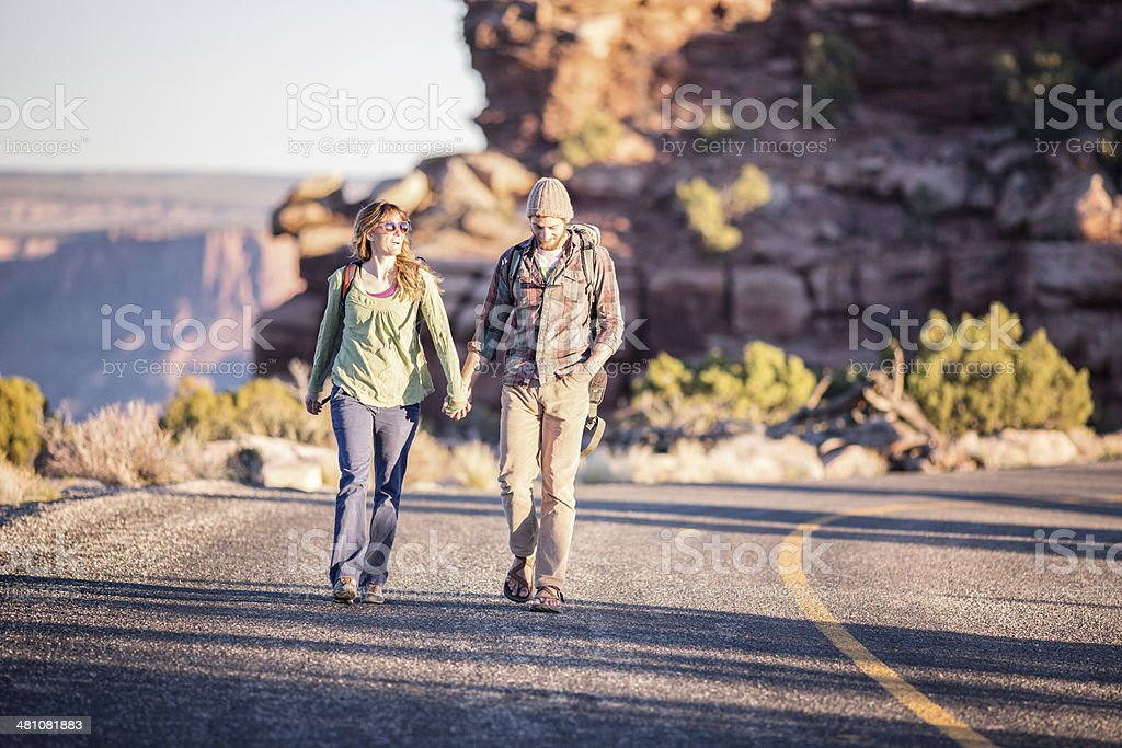 Moab Hiking Couple royalty-free stock photo