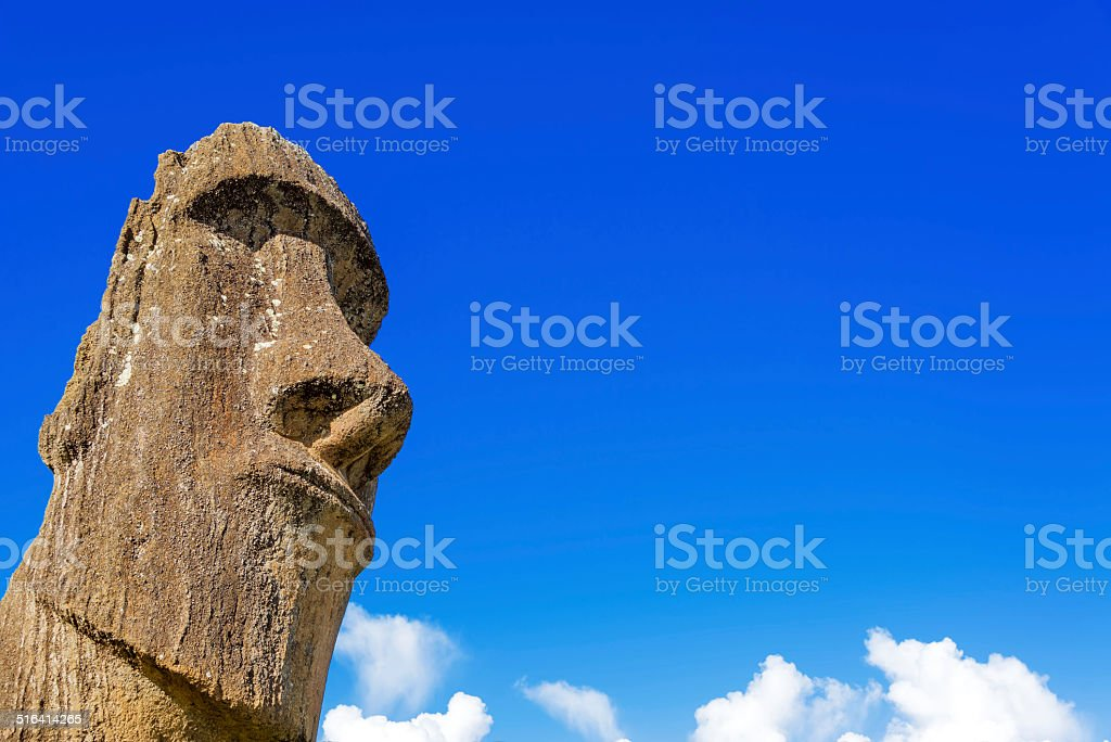 Moai and Blue Sky stock photo