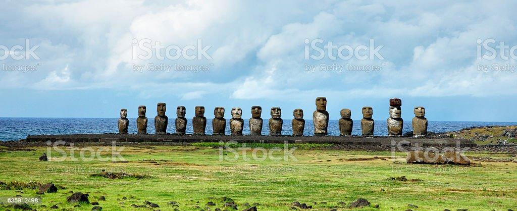 Moai at Ahu Tongariki on Easter Island, Chile stock photo