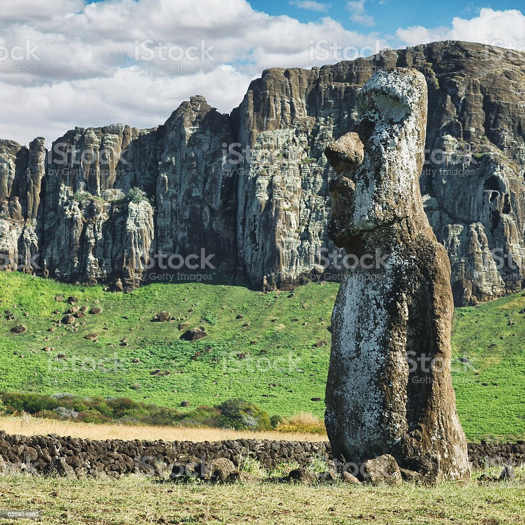 Moai at Ahu Tongariki on Easter Island, Chile stock photo