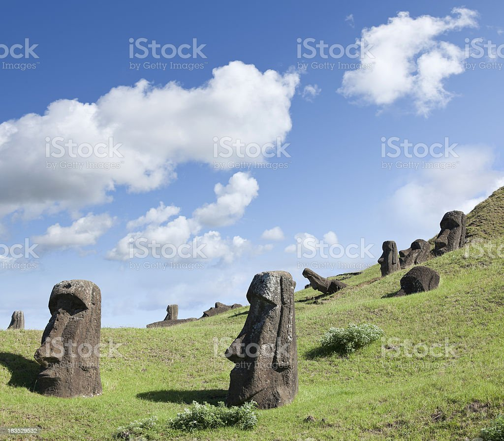 Moai at Rano Raraku Easter Island, Chile stock photo