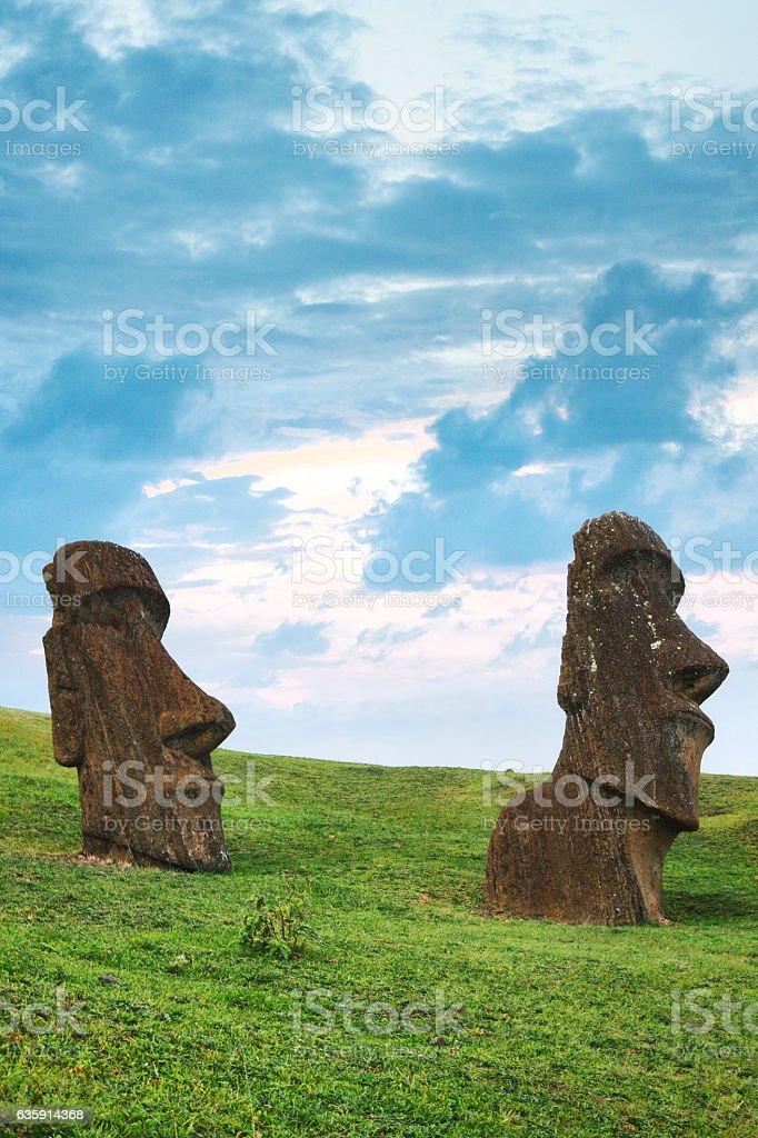 Moai at Rano Raraku Quarry on Easter Island, Chile stock photo