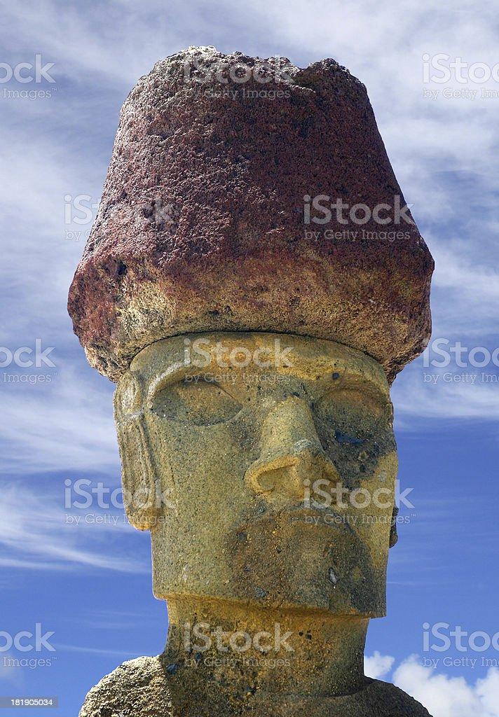 Moai Head at Ahu Anakena royalty-free stock photo
