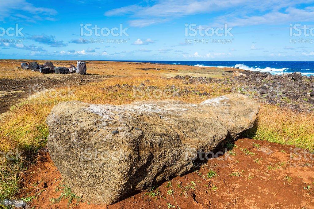 Moai Lying Facedown stock photo