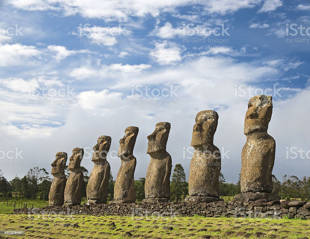 Moai of Ahu Akivi stock photo