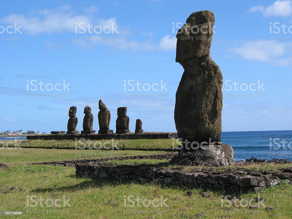 Moai of Easter Island stock photo