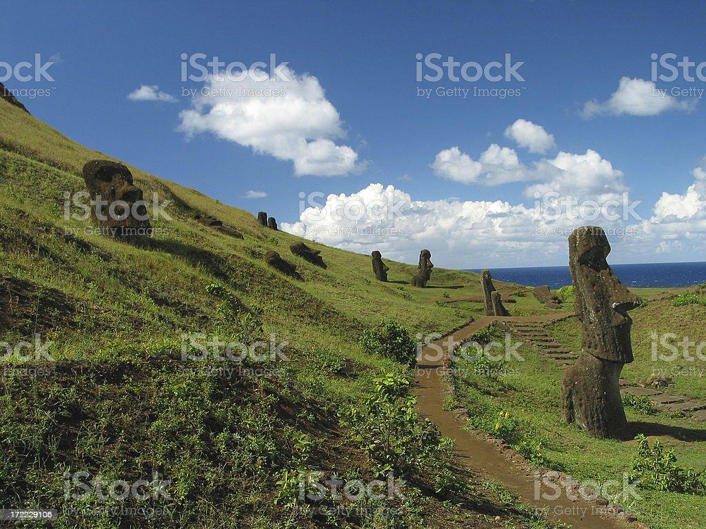 Moai on Easter Island royalty-free stock photo