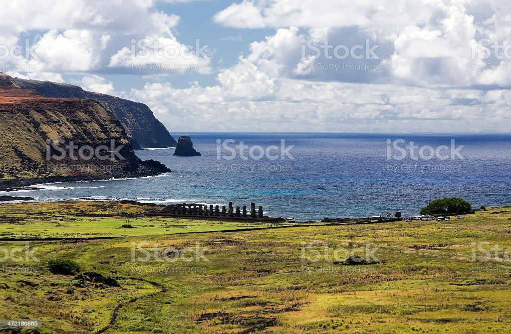 Moai on Easter Island royalty-free stock photo