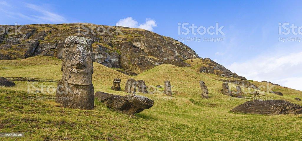 Moai on Rano Raraku Slope, Easter Island, Chile stock photo