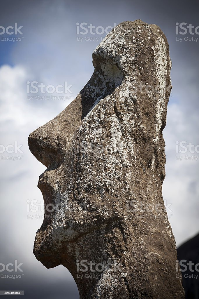 Moai on Tongariki, Easter Island stock photo