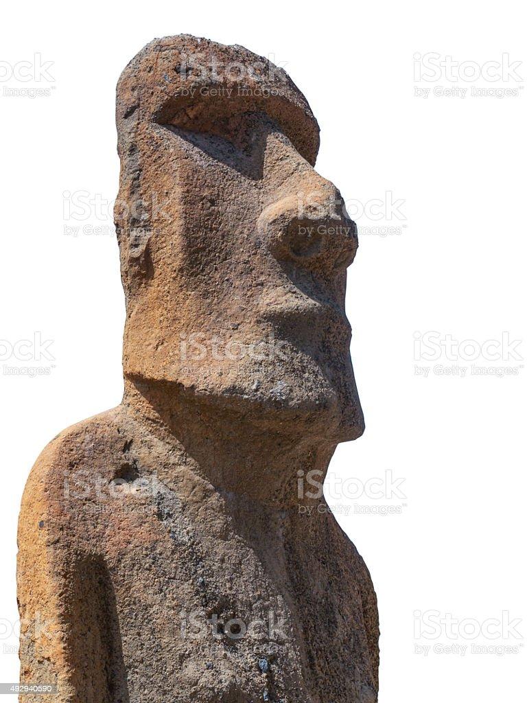 Moai sculpture isolated stock photo