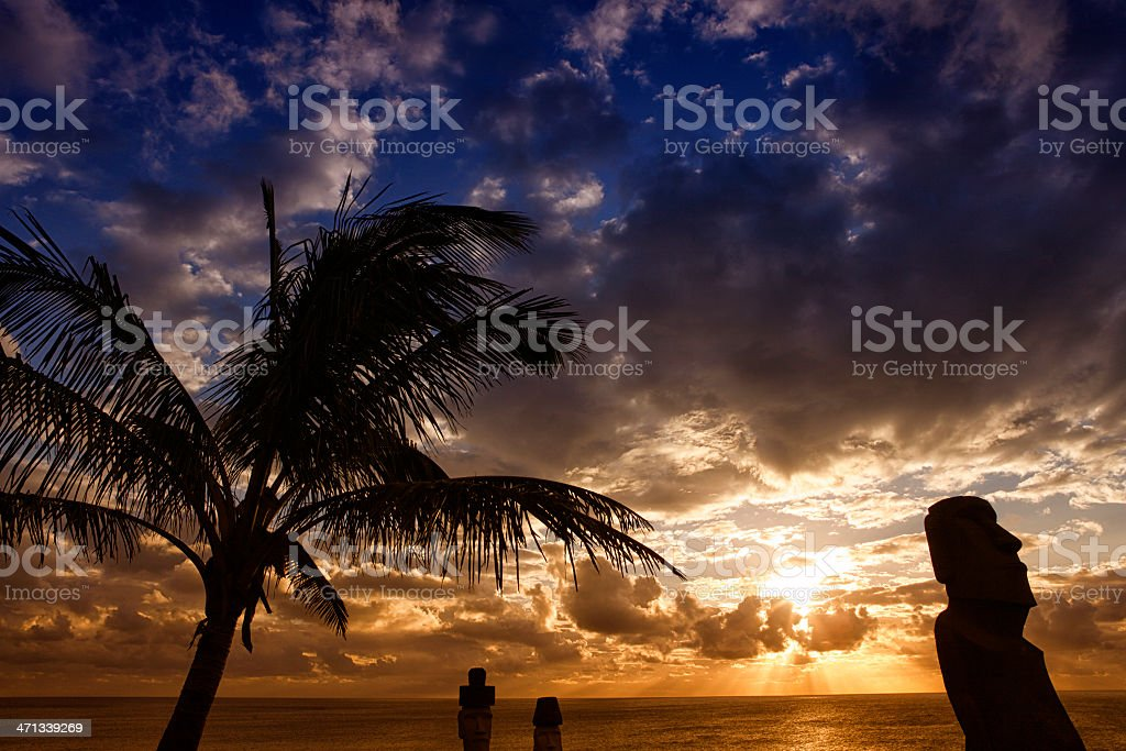 Moai Silhouette on Sunset - Easter Island royalty-free stock photo
