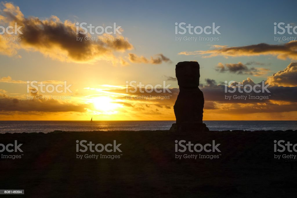 Moai statue ahu akapu at sunset, easter island stock photo