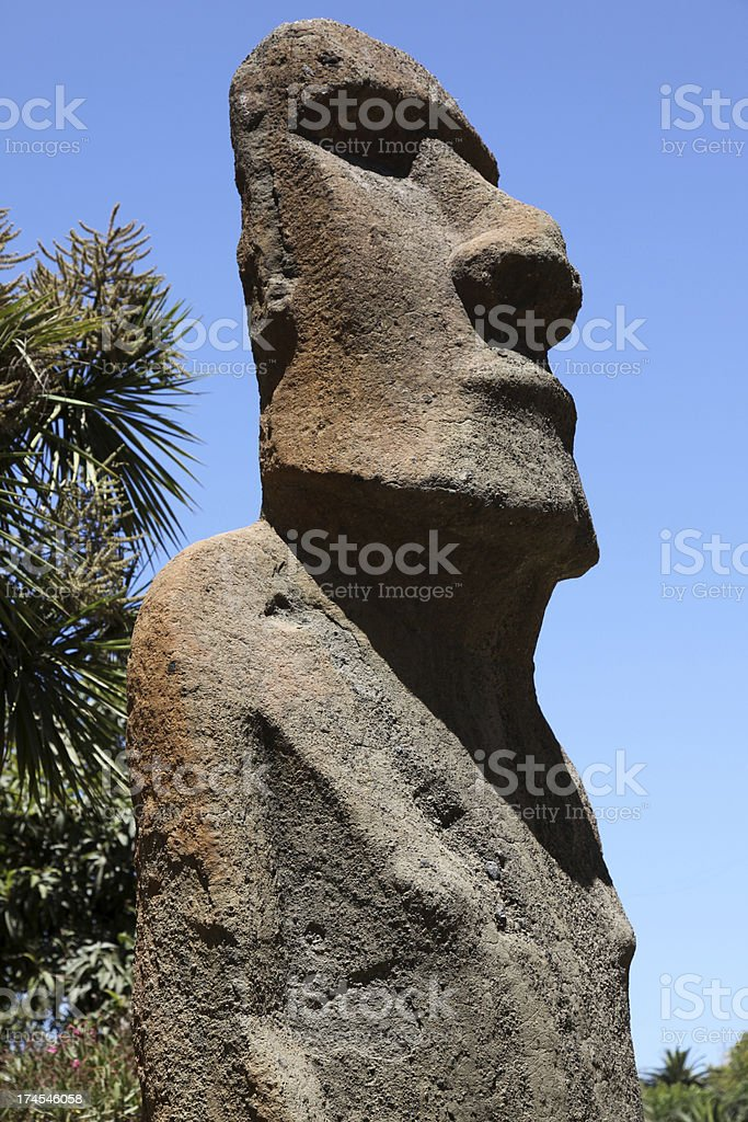 Moai Statue on Easter Island, Chile royalty-free stock photo