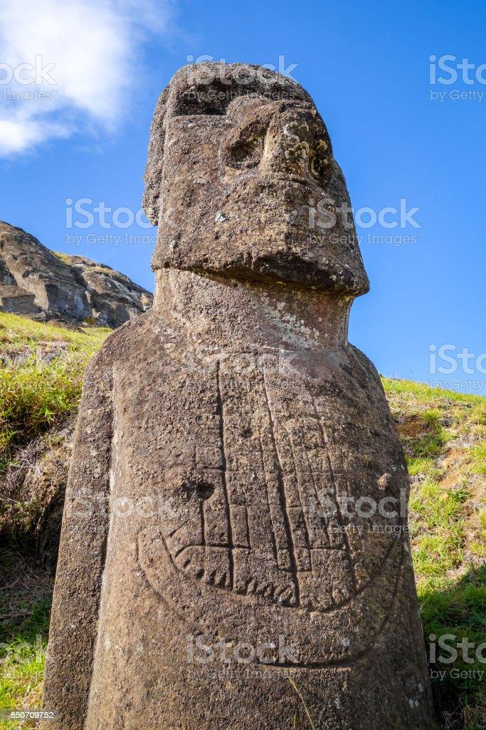 Moai statue on Rano Raraku volcano, easter island stock photo