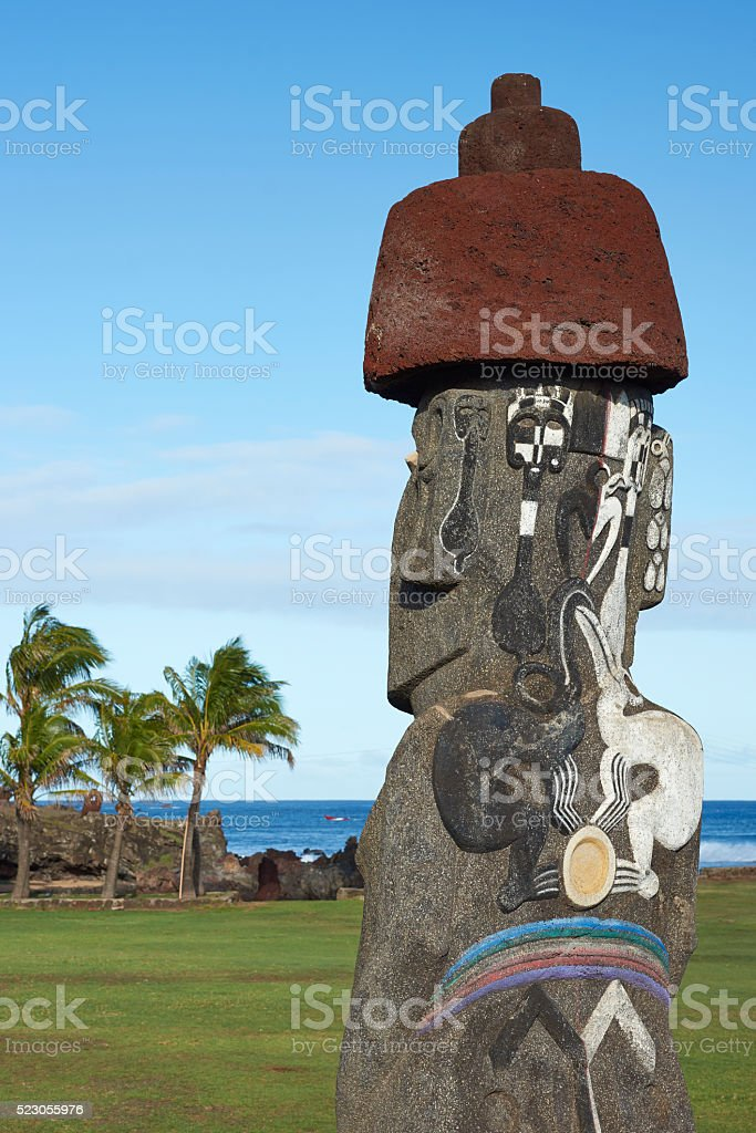 Moai statue on Rapa Nui stock photo