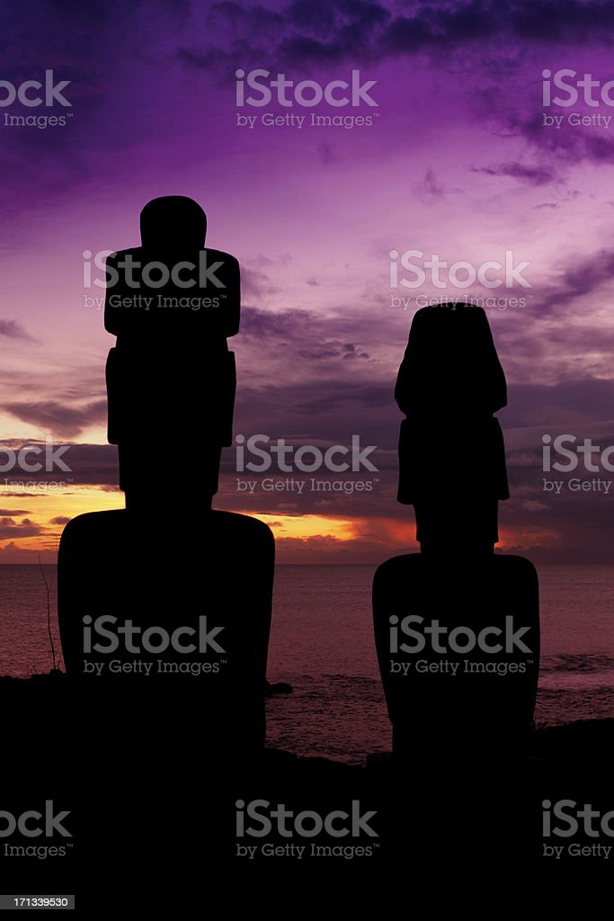 Moai Statues at Sunset stock photo