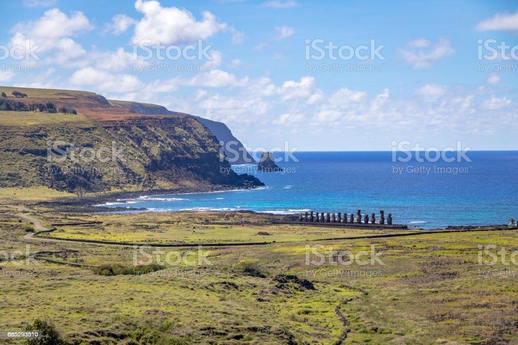 Moai Statues of Ahu Tongariki view from Rano Raraku Volcano - Easter Island, Chile stock photo