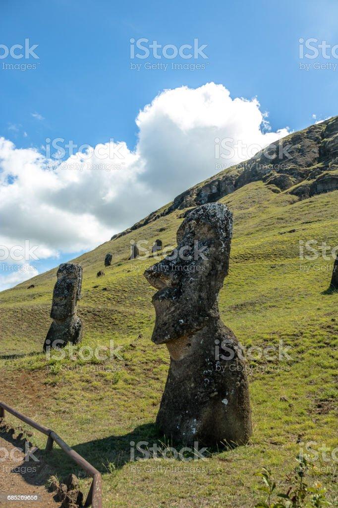 Moai Statues of Rano Raraku Volcano Quarry - Easter Island, Chile stock photo