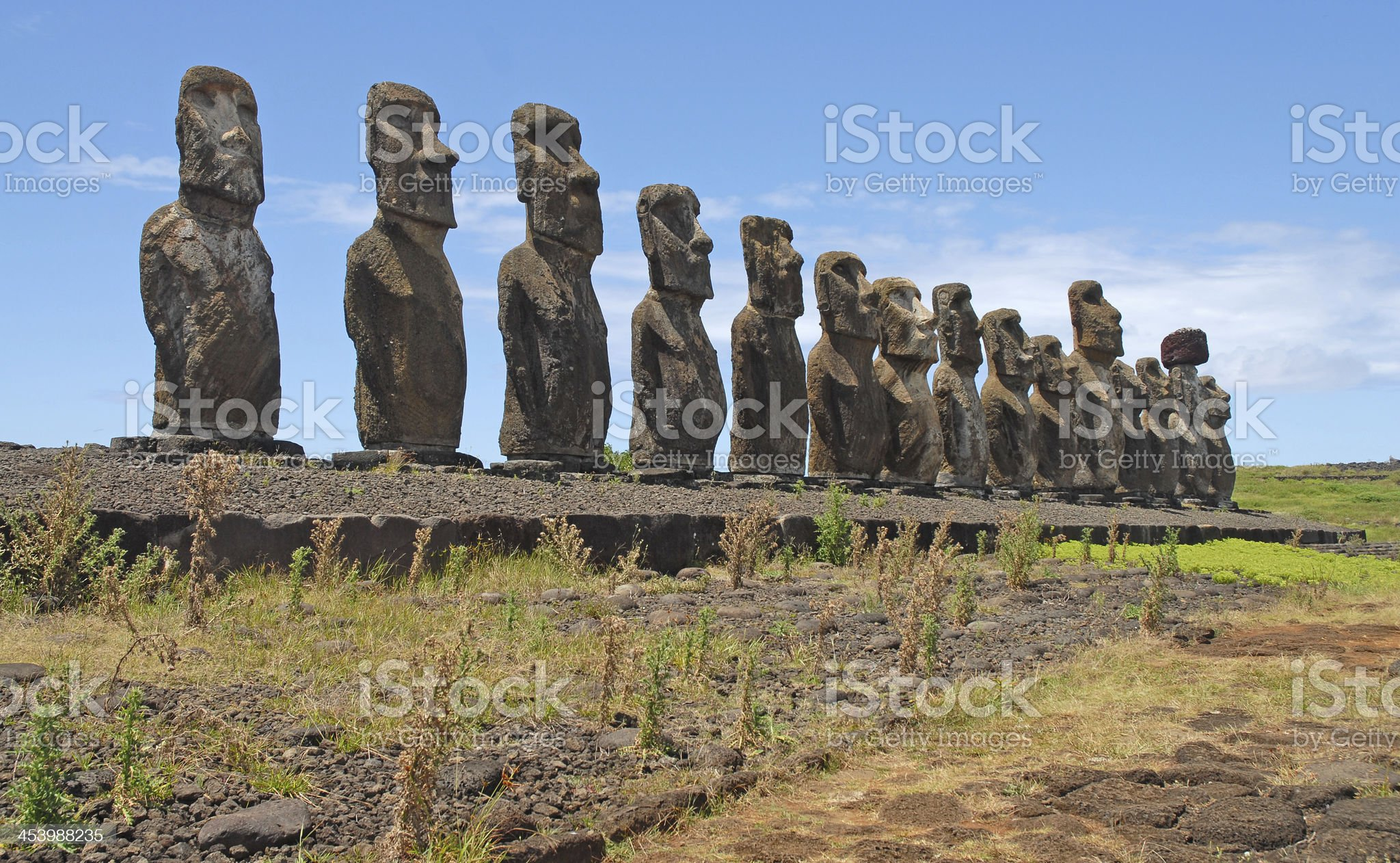 Moai Stone Statue at Rapa Nui - Easter Island, Chile royalty-free stock photo