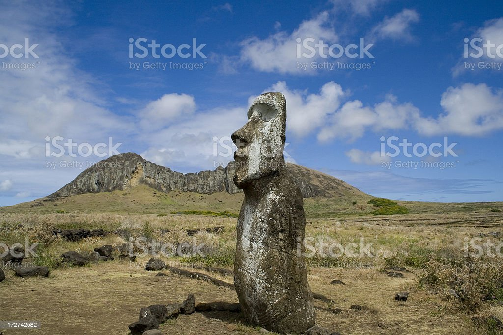 Moai stone statue on Easter Island South Pacific stock photo