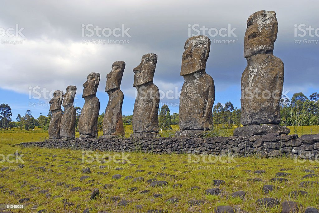 Moai Stone Statues at Rapa Nui - Easter Island, Chile royalty-free stock photo