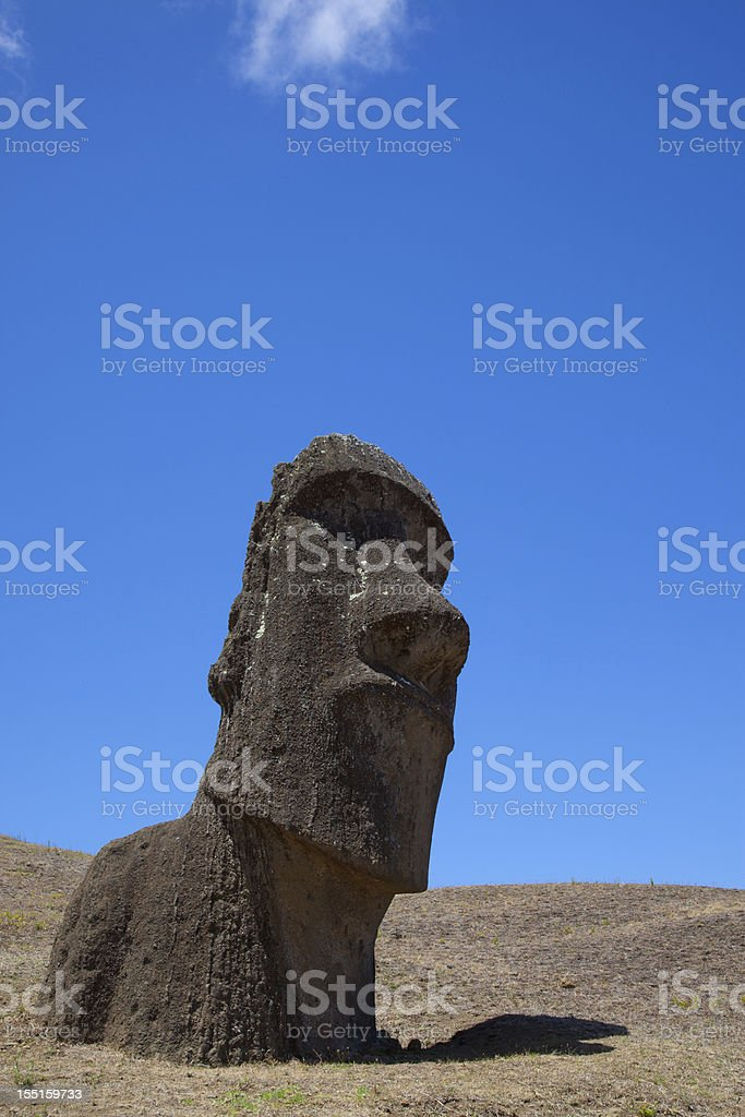Moais at Rano Raraku Volcano stock photo