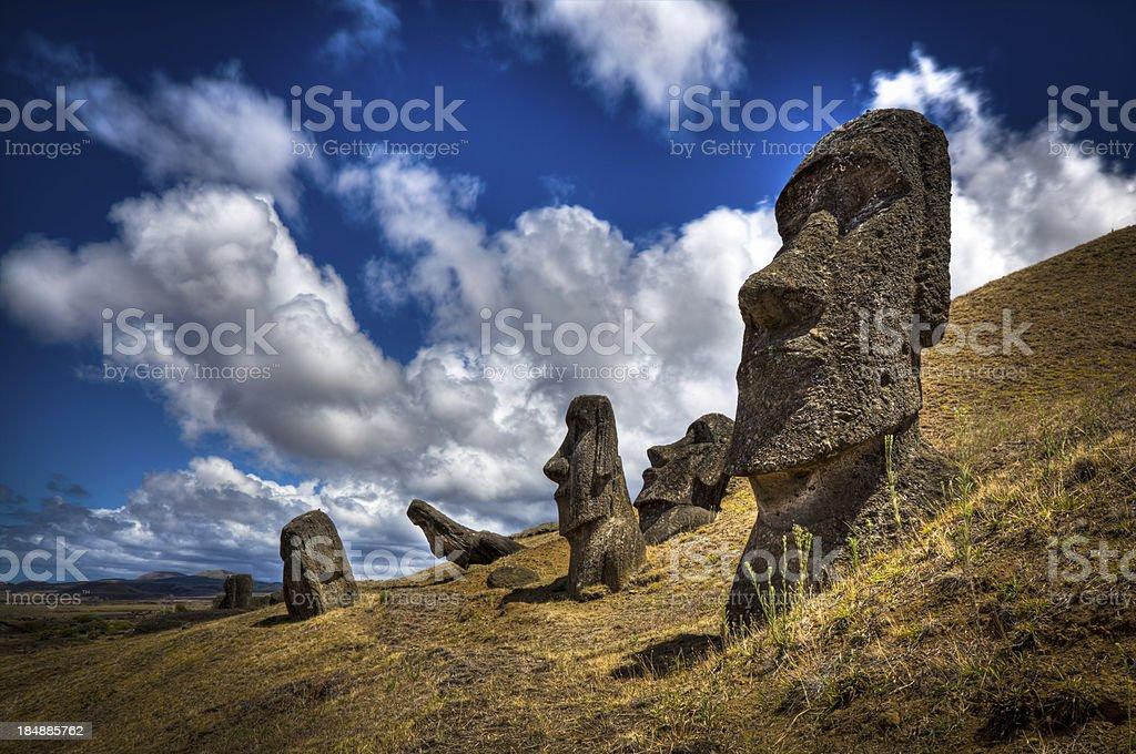 Moais at Rano Raraku Volcano stock photo
