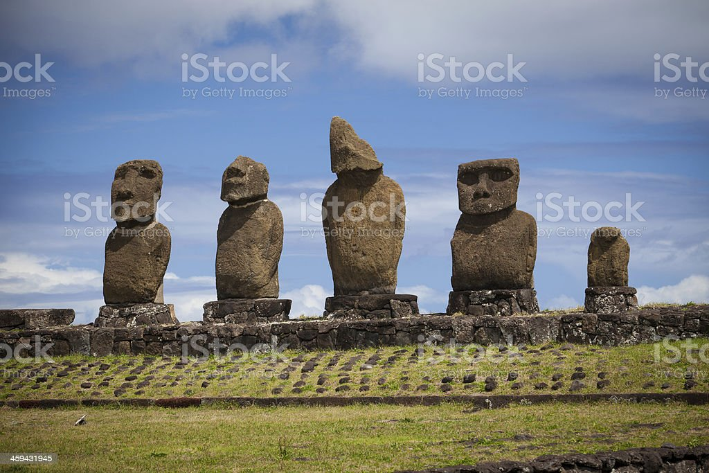 Moais in Ahu Tahai, Easter island stock photo