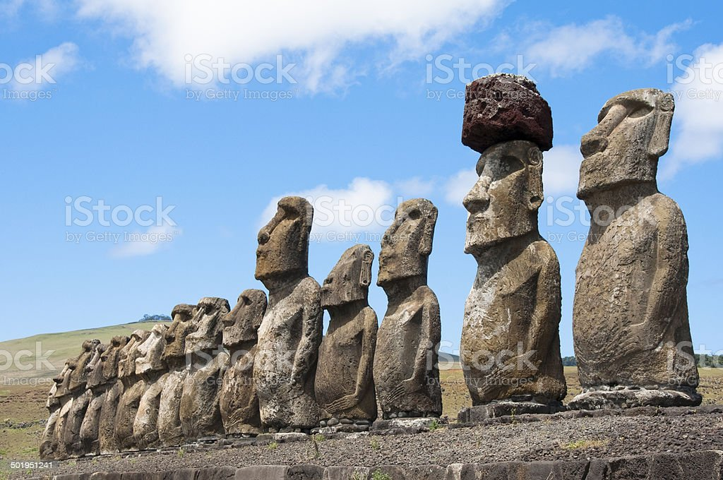 Moais in Ahu Tongariki, Easter island (Chile) stock photo