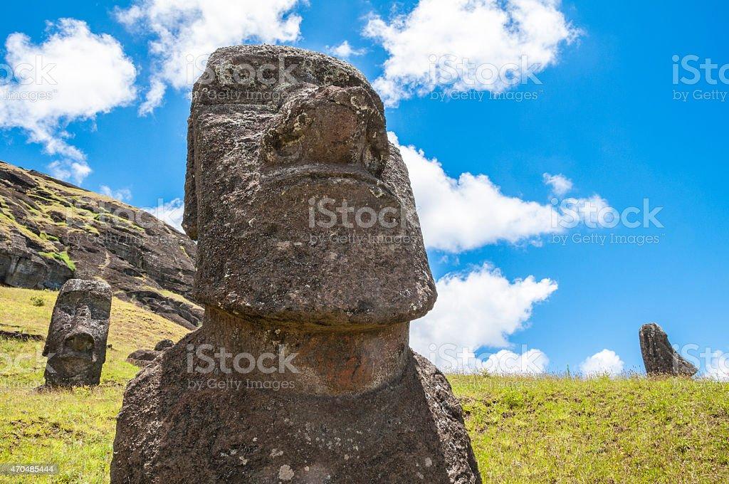 Moais of Rano Raraku volcano, Easter island (Chile) stock photo