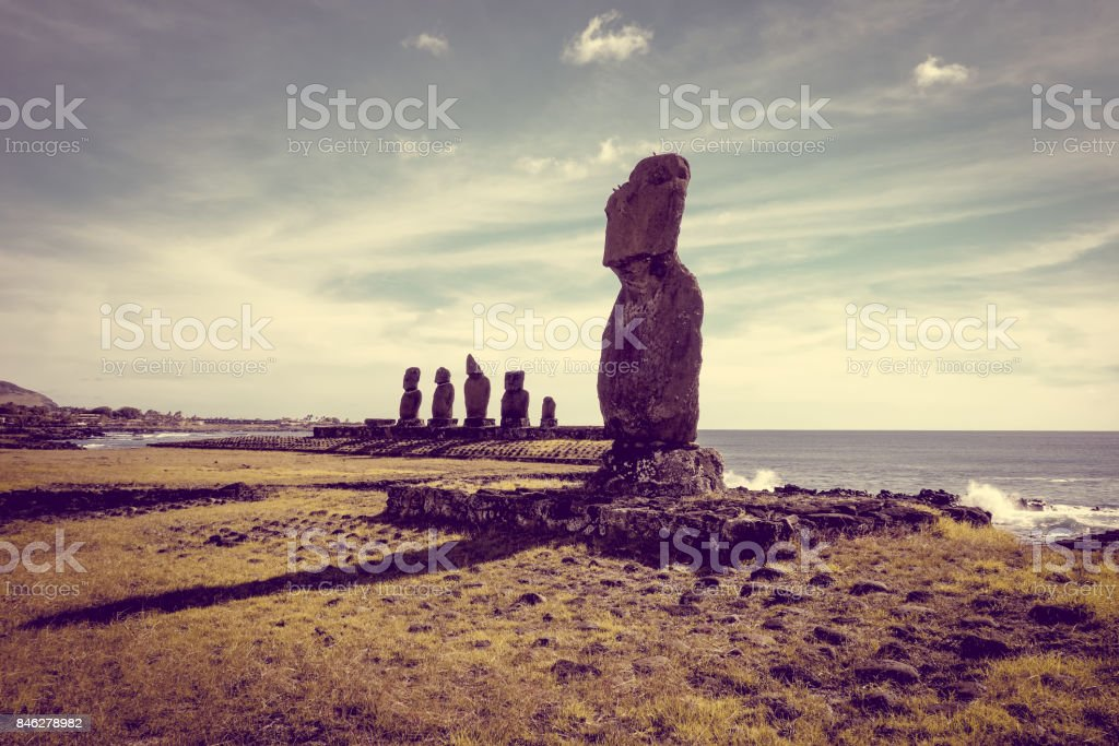 Moais statues, ahu tahai, easter island stock photo