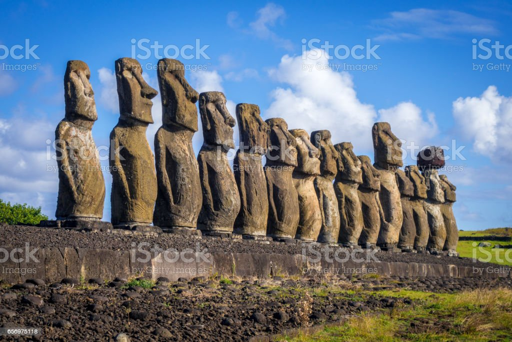 Moais statues, ahu Tongariki, easter island stock photo