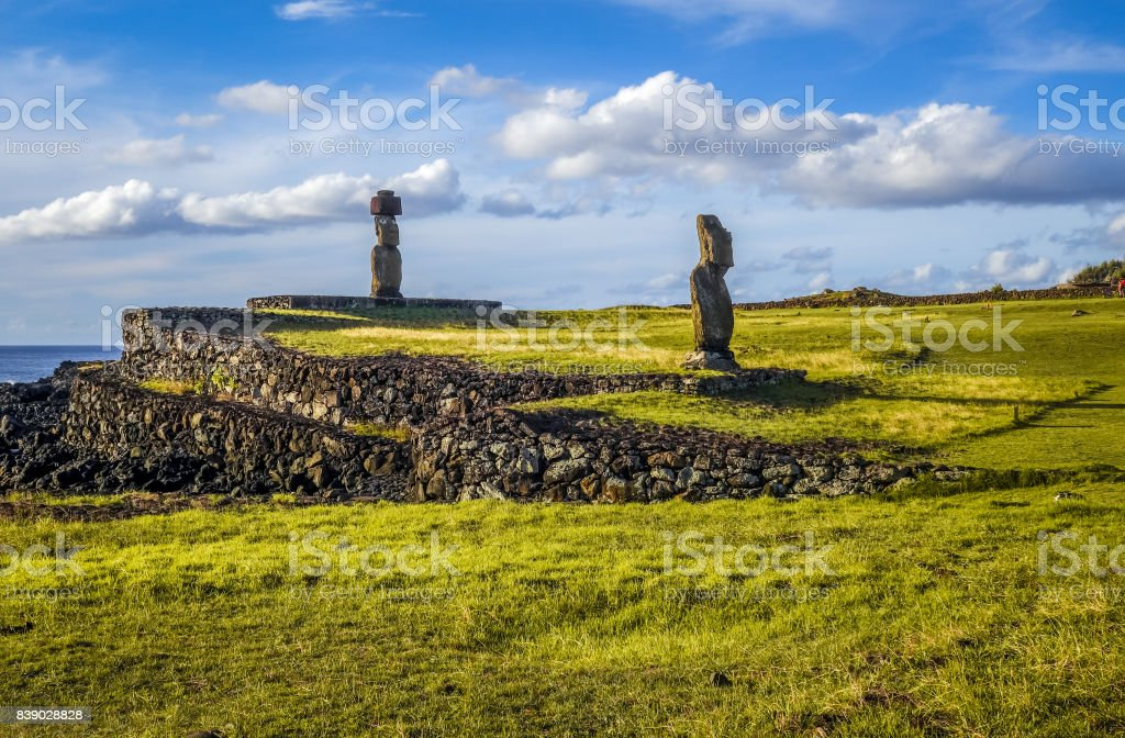 Moais statues, ahu vai ure, easter island stock photo