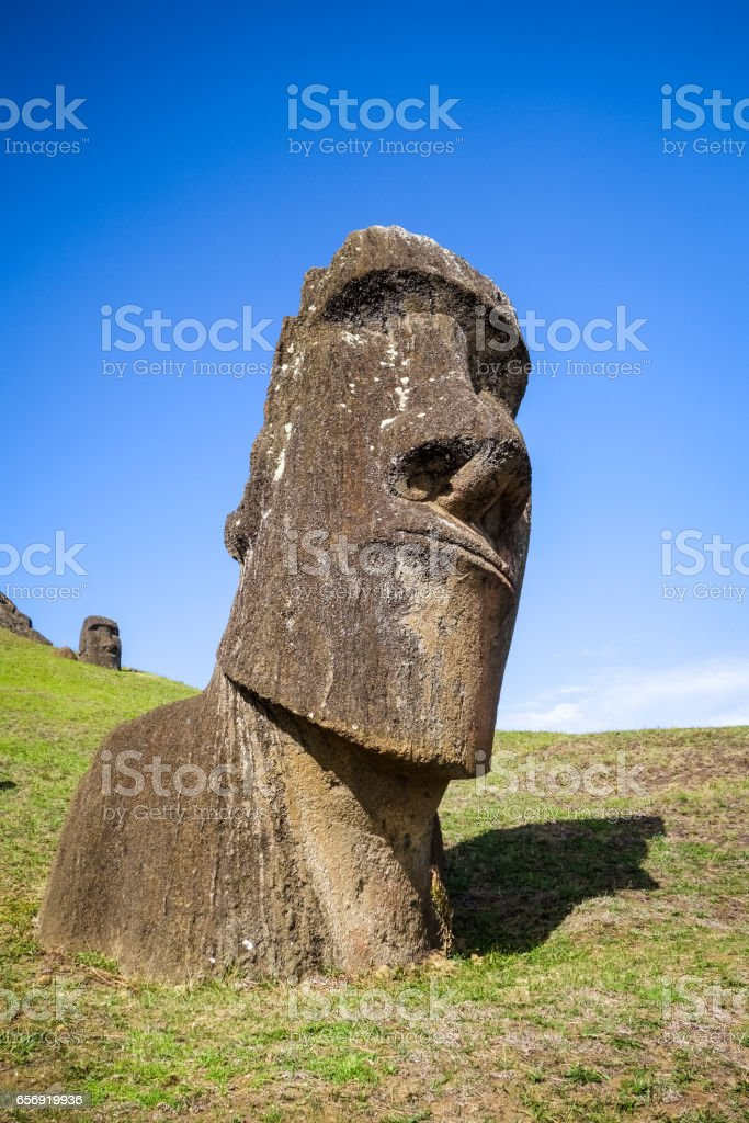 Moais statues on Rano Raraku volcano, easter island stock photo
