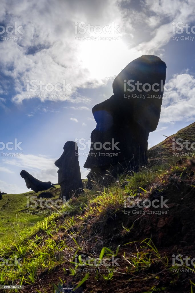 Moais statues on Rano Raraku volcano, easter island stock photo