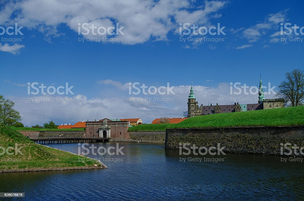 Moat and entrance gate to castle and fortress of Kronborg stock photo