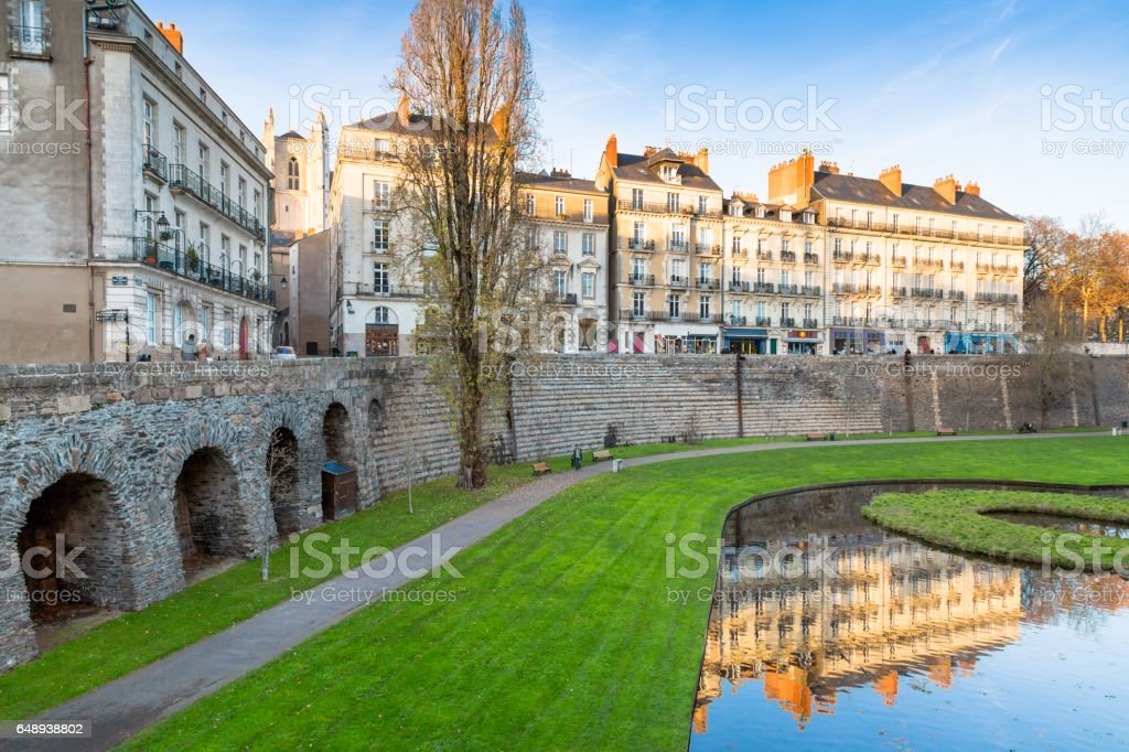 Moat and walls in the old town of Nantes, France stock photo