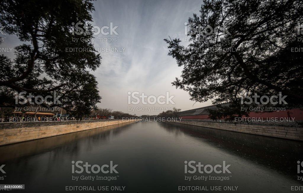 Moat around The Forbidden City, Beijing, China stock photo