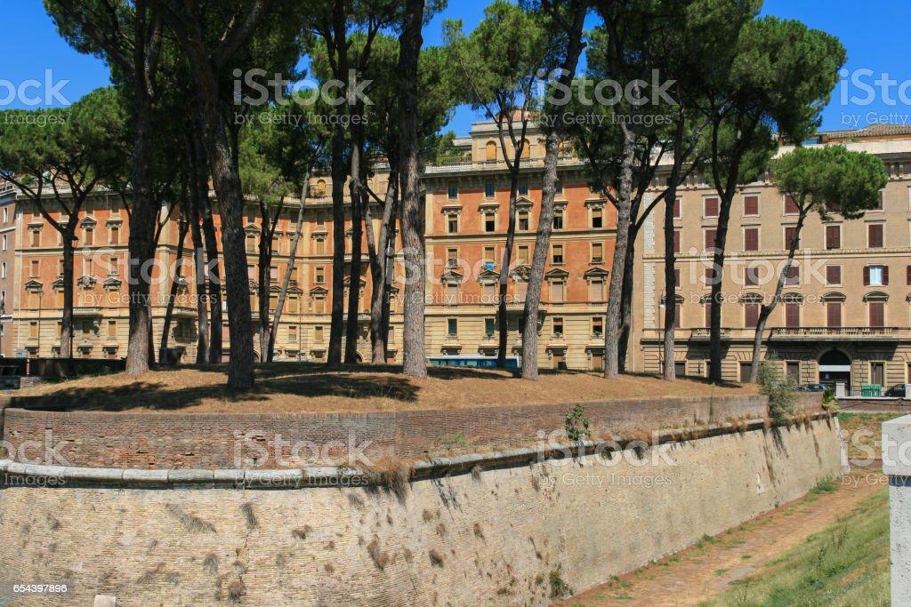 Moat at Castel Sant'Angelo area, Rome, Italy. stock photo