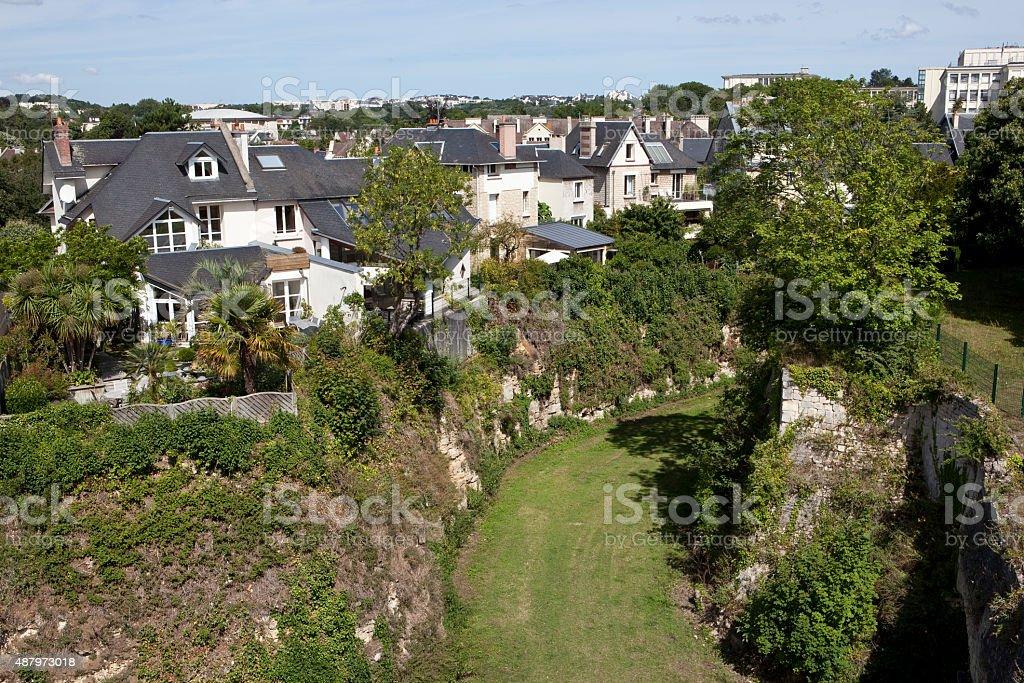 Moat of Caen Castle - Calvados, Normandy stock photo