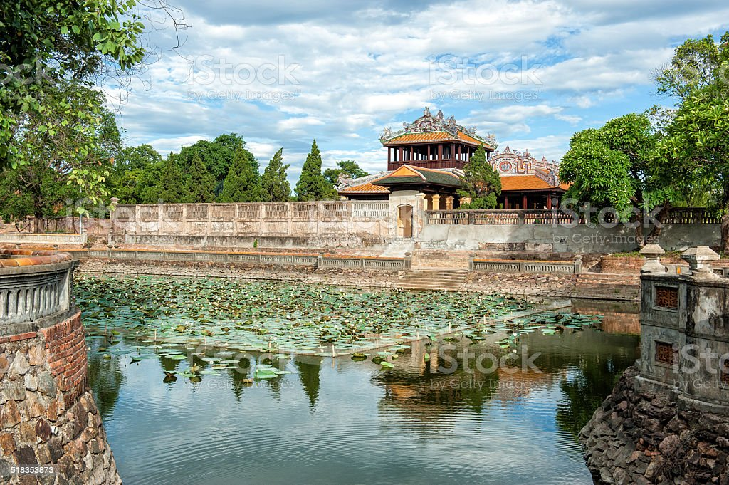 Moat of the Imperial City (Citadel) of Hue, Vietnam stock photo