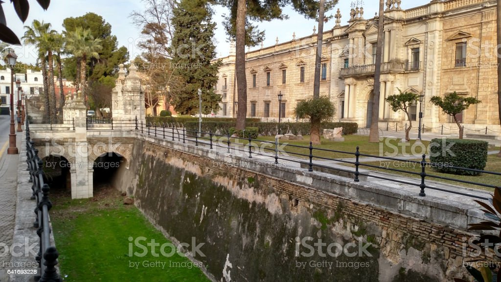 moat surrounding the Faculty of Science University of Seville Spain stock photo